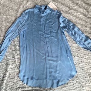 Zara baby blue mock neck blouse
